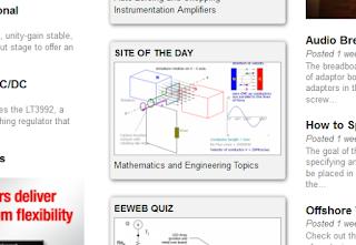 Screenshot of EEweb home page