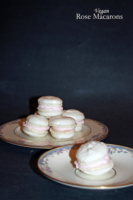vegan rose macarons