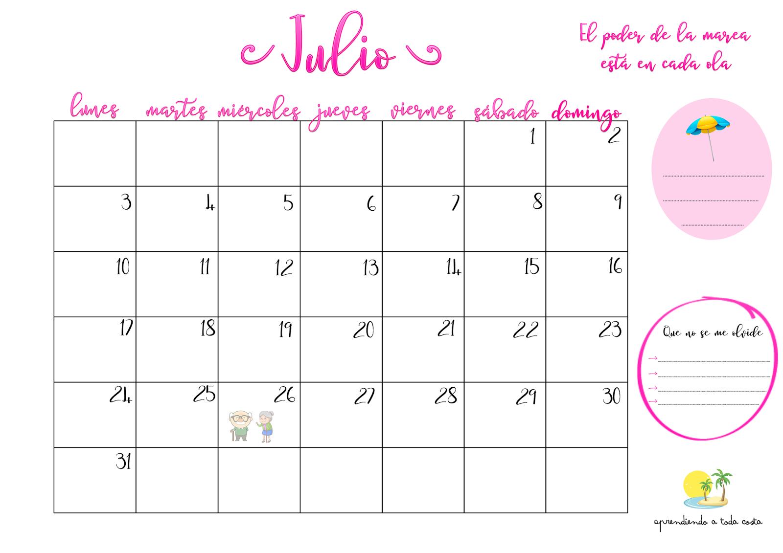 Imagen Calendario de Julio 1
