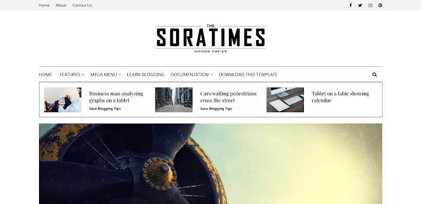 Sora Times Free Blogger Template