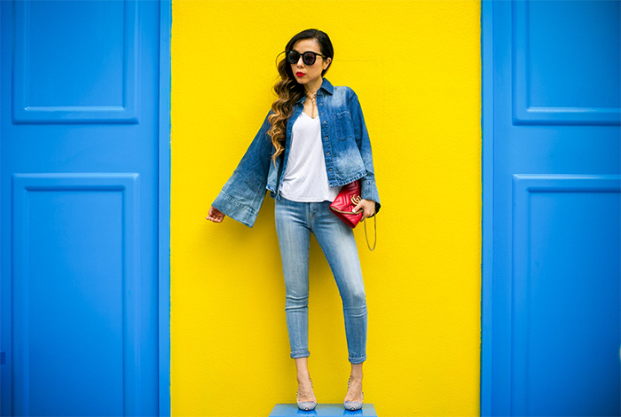 bell sleeve denim shirt, 7fam skinny jeans, karen walker super duper sunglasses, kendra scott tassel chokers, alice olivia pumps, double denim outfit, gucci marmont bag, san francisco fall fashion, san francisco street style, san francisco fashion blog