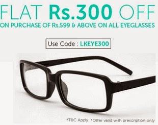 Lenskart Hot Offer: Flat Rs 300 Off on purchase of Rs 599 & above in Eyeglasses (Valid till 31st May'14)