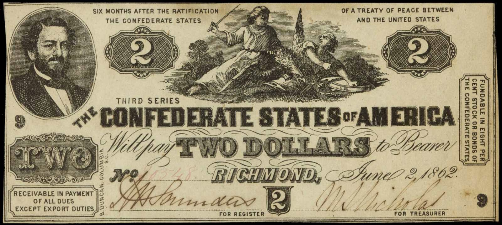 Confederate Paper Money 2 Dollar Bill 1862