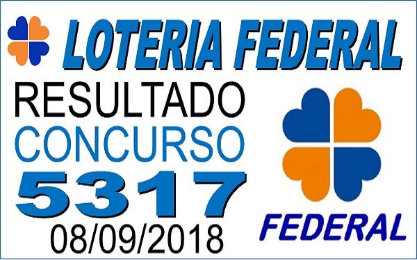 Resultado da Loteria Federal concurso 5317 de 08/09/2018 (Imagem: Informe Notícias)