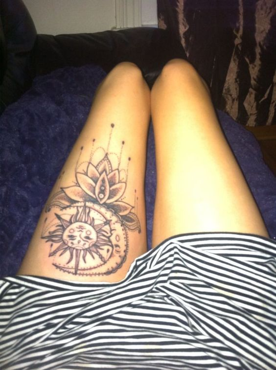 Stunning Moon Tattoos For Women on Thigh