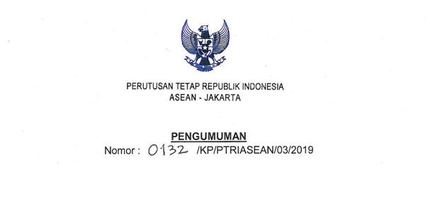 Lowongan KEMENLU, Perutusan Tetap Republik Indonesia Untuk ASEAN Tahun 2019