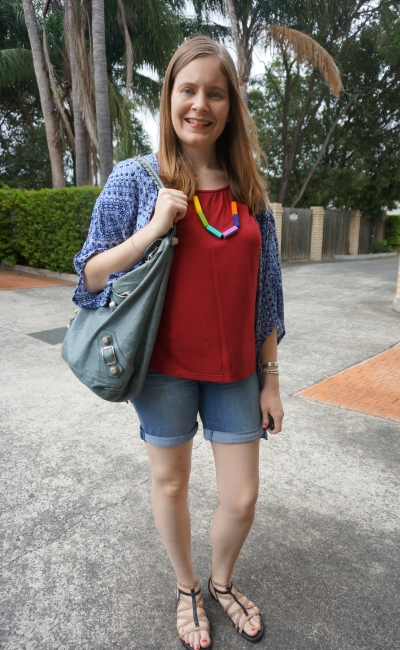 navy printed kimono, red tee, Jeanswest trinity denim Bermuda short, Balenciaga day bag | Away From Blue