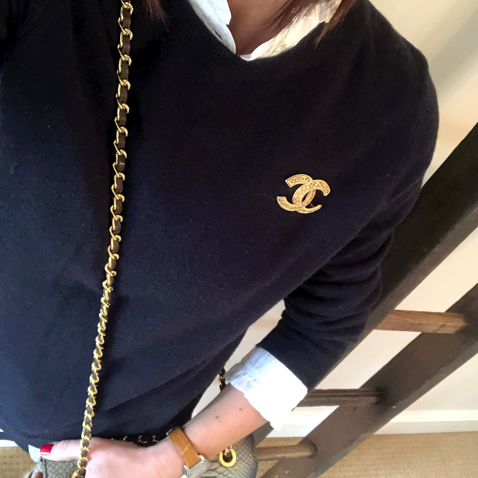 my midlife fashion, marks and spencer pure cashmere ribbed crew neck jumper, uniqlo high collar frill blouse, zara military trousers, golden goose superstar low top leather trainers, python cross body chain bag, chanel vintage brooch