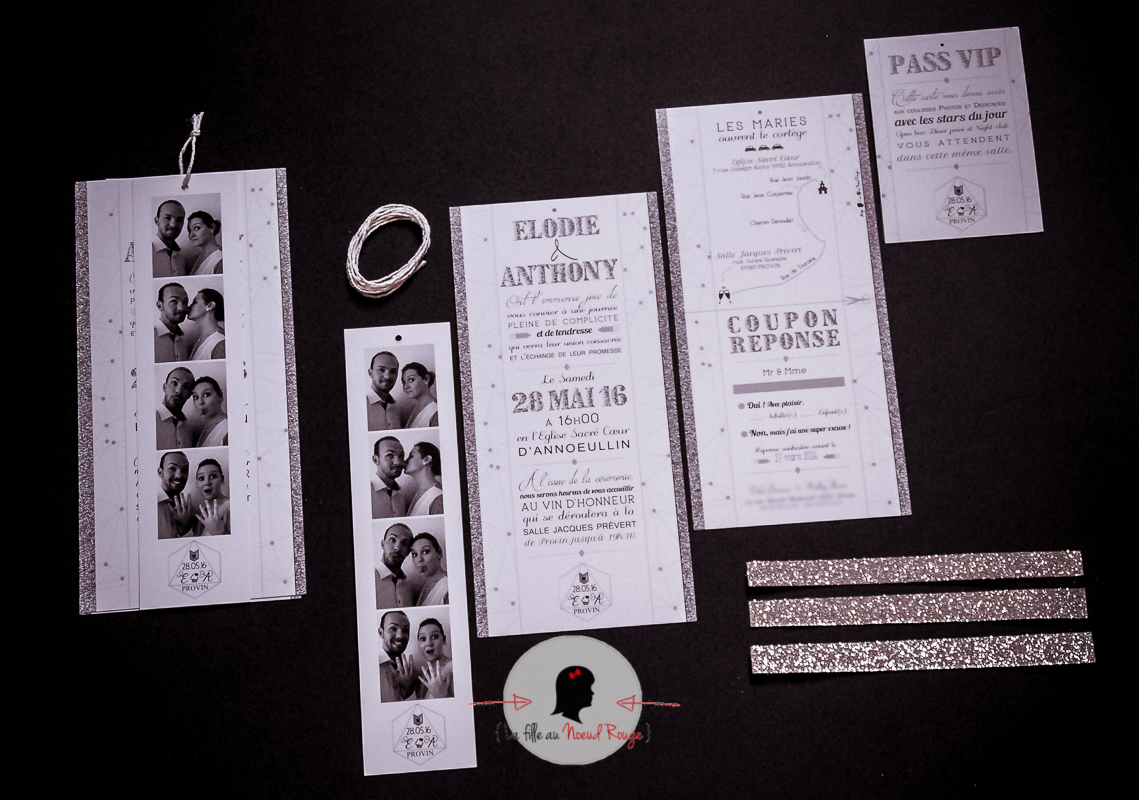 Connu Le faire-part de mariage sur-mesure moderne & photomaton d'E&A  MS96