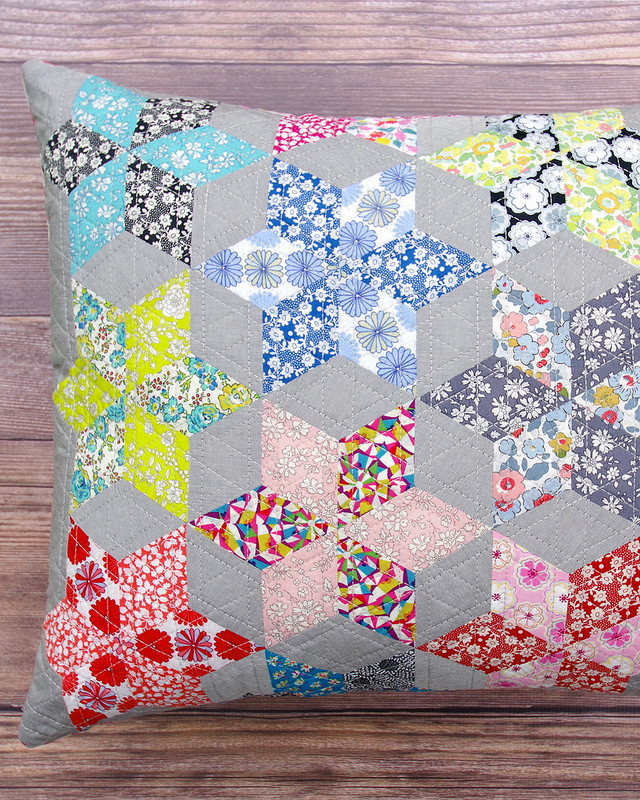 English Paper Piecing Liberty Star Pillow Red Pepper