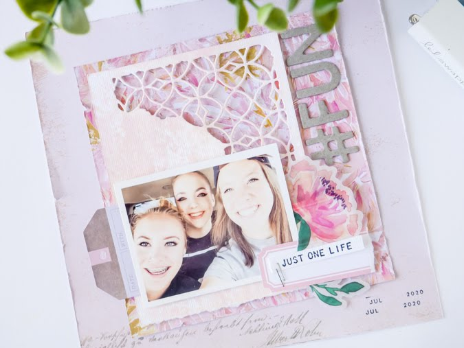 Beautiful Tim Holtz Mixed Media Dies and the Scrapbook Page by Jamie Pate