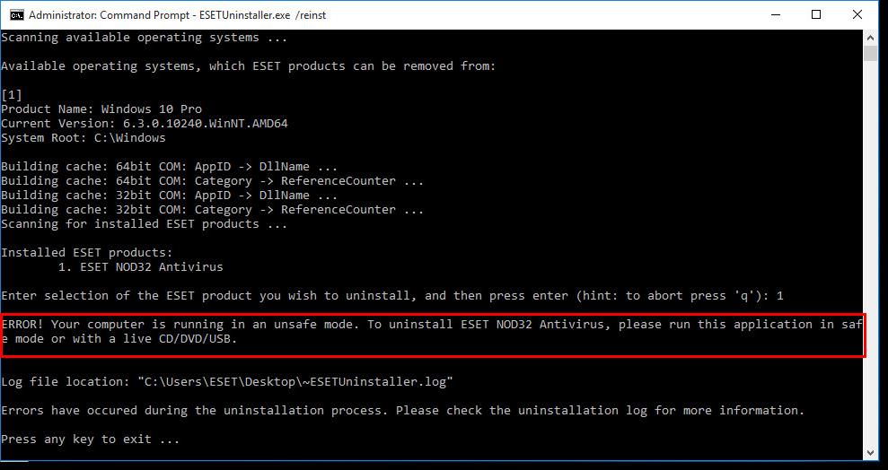 كيفية إلغاء تثبيت ESET 11 على نظام التشغيل Windows 10