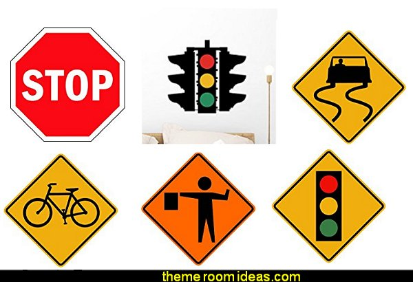 Road Signs wall decals  transportation theme bedroom decorating ideas - Planes, trains, cars and trucks decor - transportation bedroom ideas -  transportation vehicles theme bedrooms - tire throw pillows - cars trucks wall decals - transportation bedding - police cars - polce bedding - heroes bedding