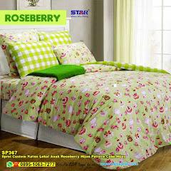 Sprei Custom Katun Lokal Anak Roseberry Hijau Pattern Cake Hijau