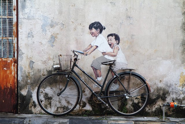 One of the famous street art in Penang