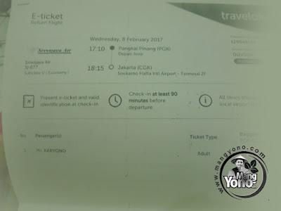 Tiket Pulang Pesawat Sriwijaya Air Pangkalpinang - Jakarta
