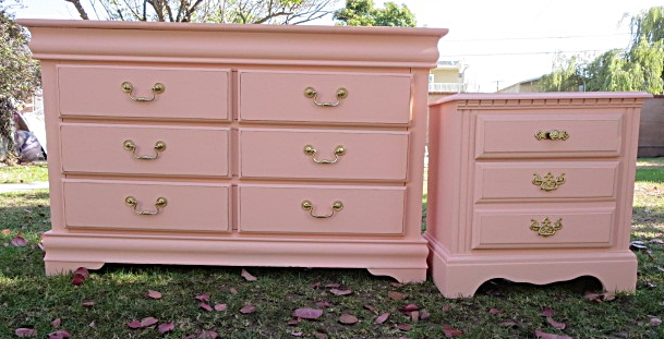 Shabby Chic French Provincial Dresser Hollywood Pink 9 Drawers Sold