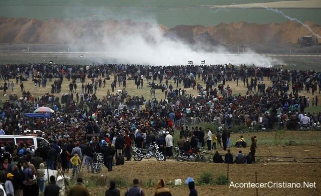 Protesta de palestinos en frontera con Israel