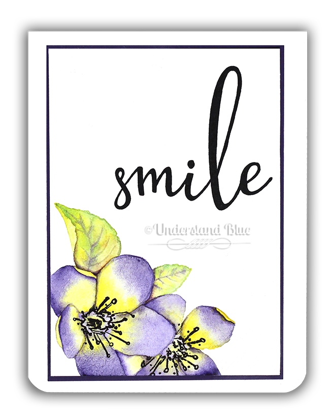 Smile - Spring Blossoms no-line watercolor card by Understand Blue