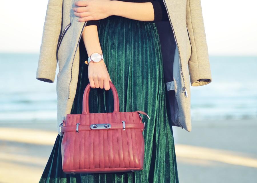 plisowana welurowa spódnica | velvet plated skirt