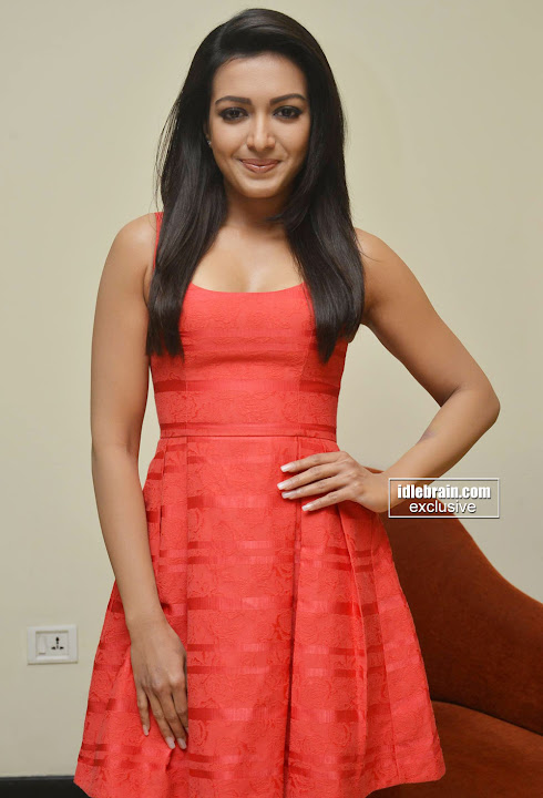 Catherine Tresa in Red Short Dress at Intex Air Conditioners Launch