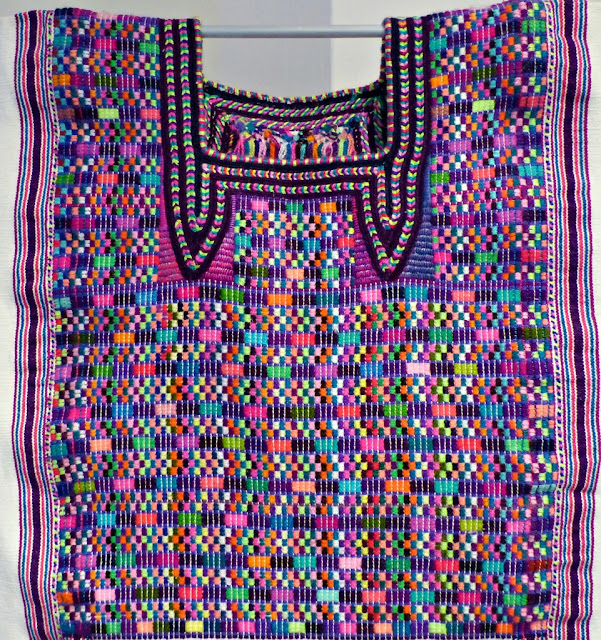 Embroidery on huipil from Cancuc region, Chiapas, Mexico