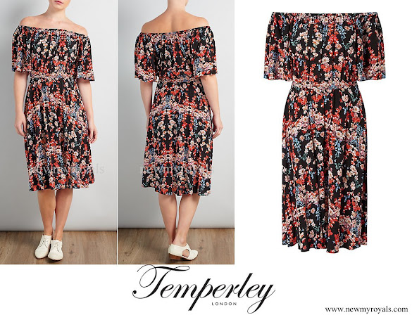 Kate Middleton wore Somerset by Alice Temperley Peony Off The Shoulder Dress