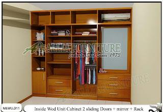 Dalam lemari minimalis plafon pintu geser model cabinet unit Wod