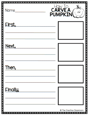 Use this creative writing activity for how to carve a pumpkin.