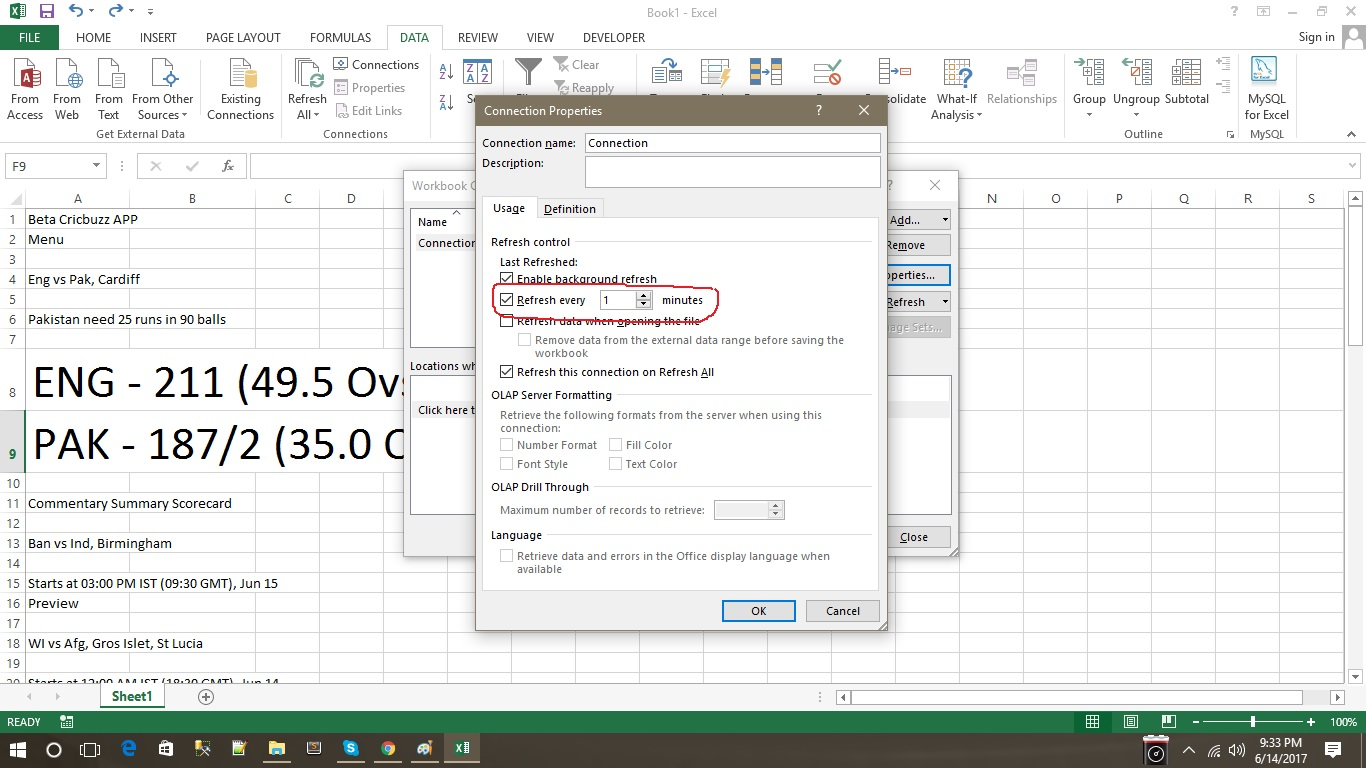How To Get Live Cricket Score On Excel Sheet