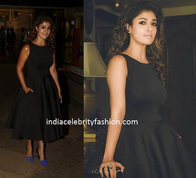 Nayanthara in Mint Blush Black Dress for Film fare awards 2016