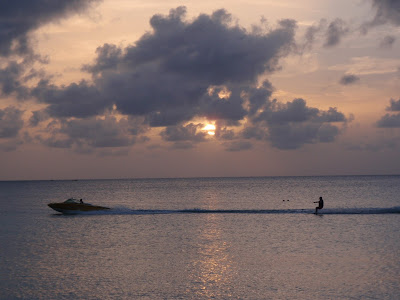 Life, liberty and the pursuit of happiness, America, Antigua, sunset, boat, skiing, pursuit boats, sky