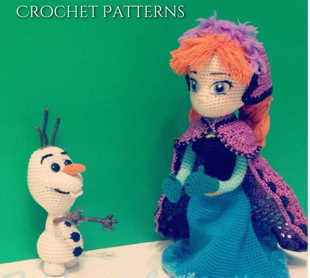 Crochet Olaf and Anna from Amigurumi Patterns Inspired by Disney Kawartha Kids will love this