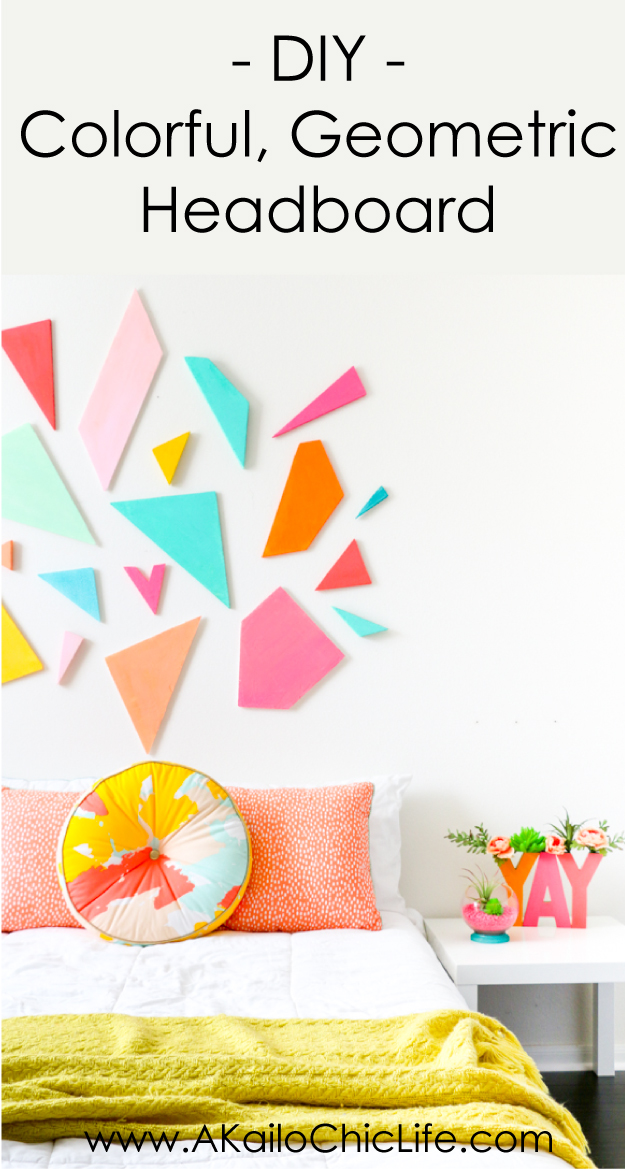 Learn how to DIY your own light weight colorful geometric headboard using craft foam sheets by FloraCraft. Easy triangle and polygon shaped bedroom decor - quick craft - home DIY project