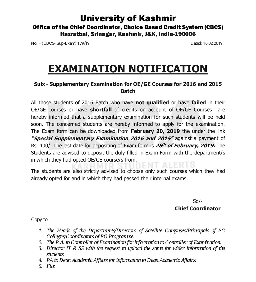 Kashmir University | Supplementary Examination for OE/GE Courses for