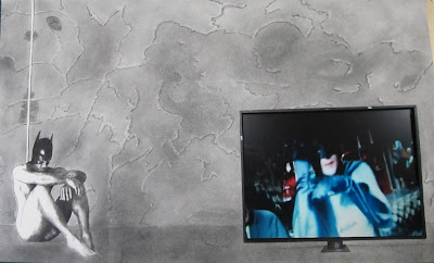 F. Lennox Campello's The Batman in The Batcave (Brooding Over Robin)  Charcoal, conte and Embedded Appropriated Video. Circa 2013  Framed to 30x40 inches.
