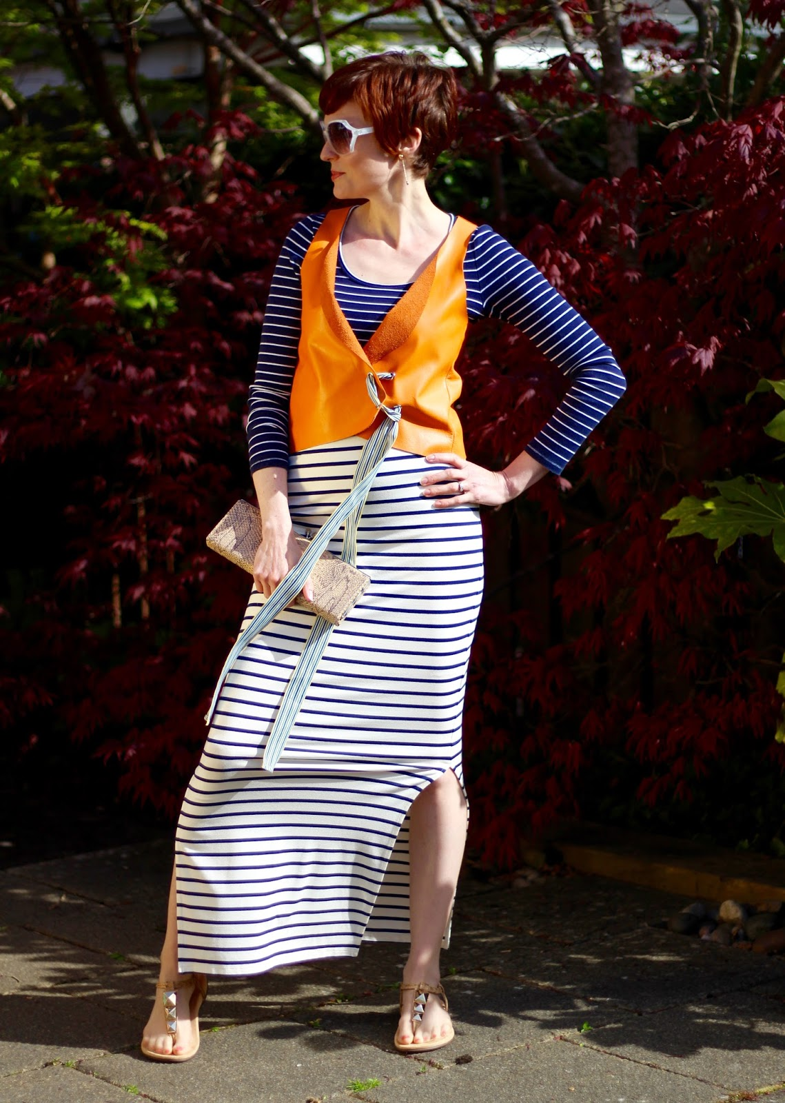 Mixing Stripes | Navy, White and Orange | Spring Style, over 40.