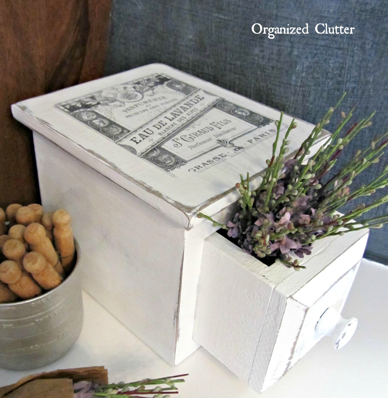 Upcycled Garage Sale Potpourri Drawer www.organizedclutterqueen.blogspot.com