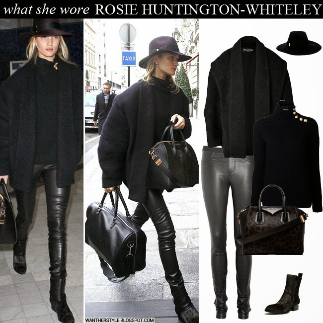 073a4054e806 Rosie Huntington-Whiteley in black cocoon coat, black sweater, black leather  pants with