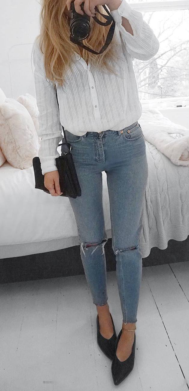 perfect outfit idea: shirt + ripped jeans