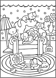 Cute Cats And Dogs On Home Coloring Pages Download For Free