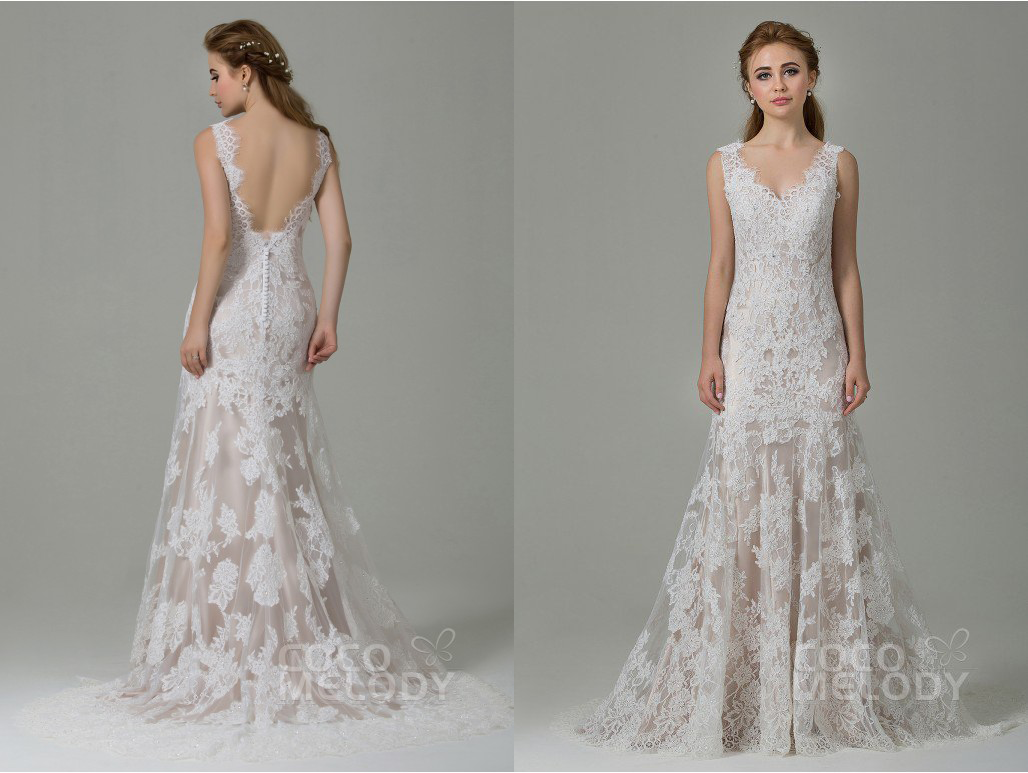 Lace backless wedding dress from CocoMeldoy