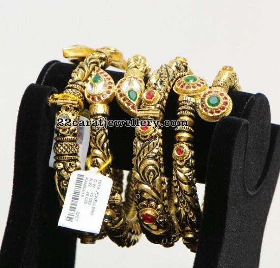 Black Finish Antique Kada Bangles