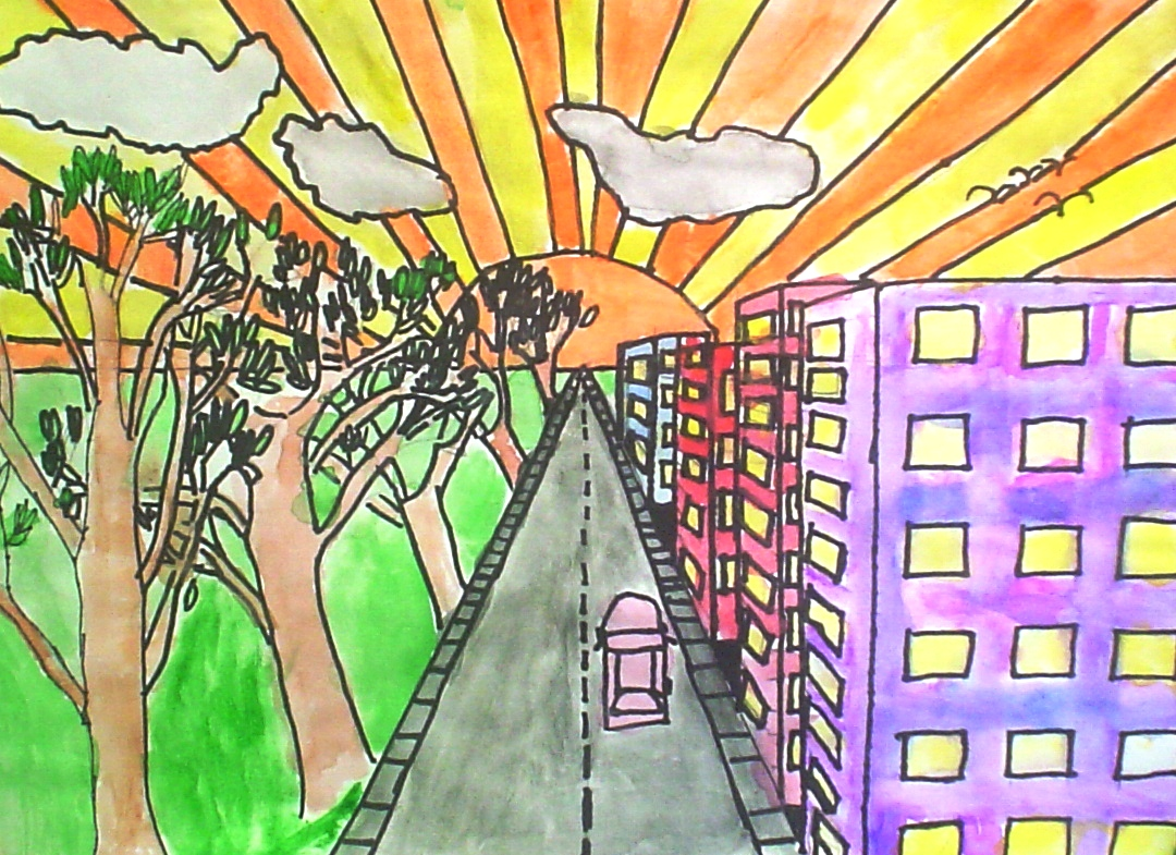 Lessons from the K-12 Art Room: One Point Perspective Cities Easy One Point Perspective Drawing For Kids