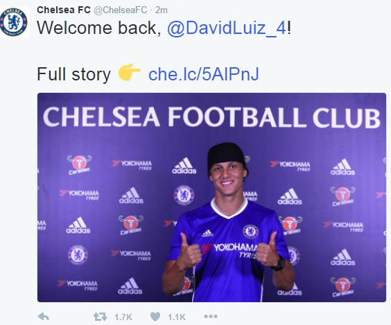 Chelsea has officially signed David Luiz for £38m
