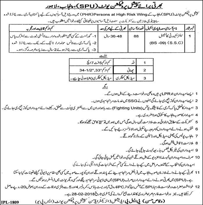 Jobs In Special Protection Unit Punjab Police Farooqabad 2018 for 88 Posts