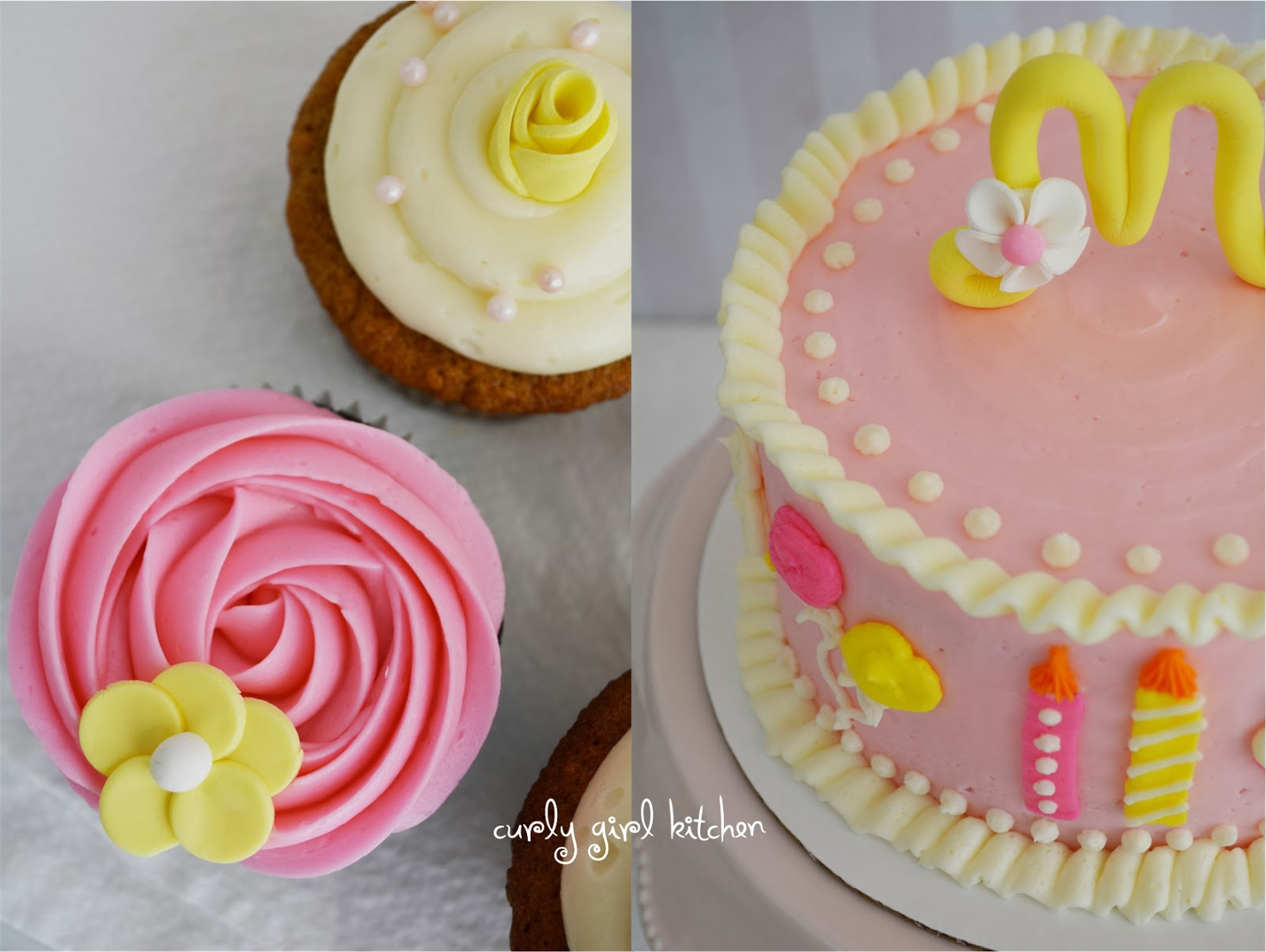 Awesome Curly Girl Kitchen Pink And Yellow Birthday Smash Cake And Cupcakes Funny Birthday Cards Online Ioscodamsfinfo