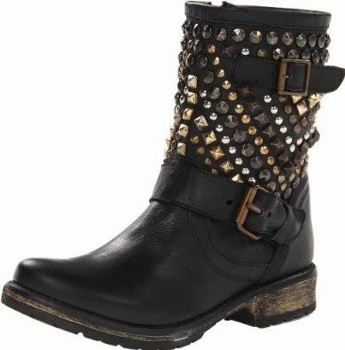 Shoe Luv 10 Designer Black Studded Moto Ankle Boots We