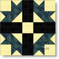 Mexican Star quilt block - image © W. Russell, patchworksquare.com