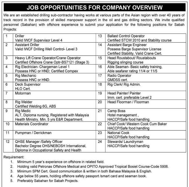 Oil &Gas Vacancies: Vacancies - Bayong Resources - Sabah